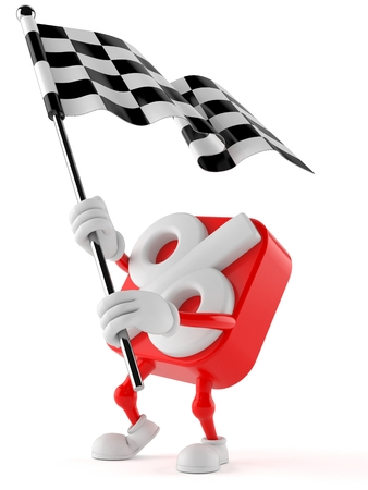 Percent character waving race flag isolated on white background Stock Photo