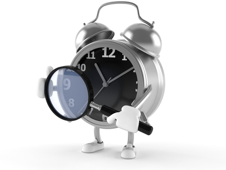 Alarm clock character holding magnifying glass isolated on white background