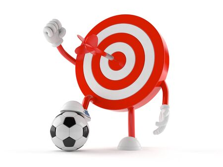 Bulls eye character with soccer ball isolated on white background Stock Photo