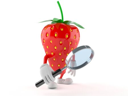 Strawberry character looking through magnifying glass isolated on white background