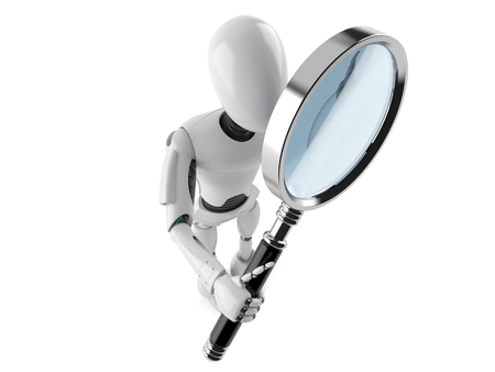 Cyborg with magnifying glass isolated on white background Reklamní fotografie