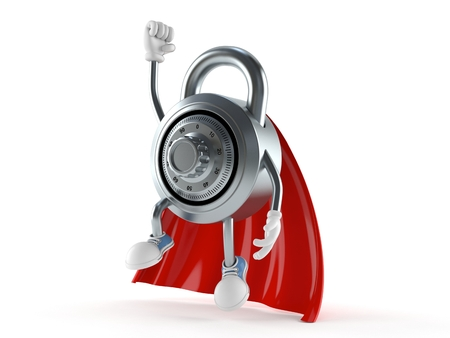 Combination lock character with hero cape isolated on white background