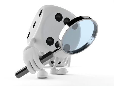 Dice character looking through magnifying glass isolated on white background Archivio Fotografico