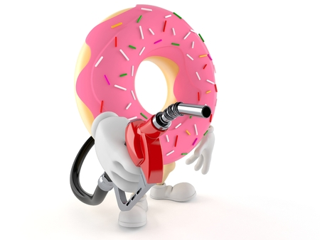 Donut character holding gasoline nozzle isolated on white background