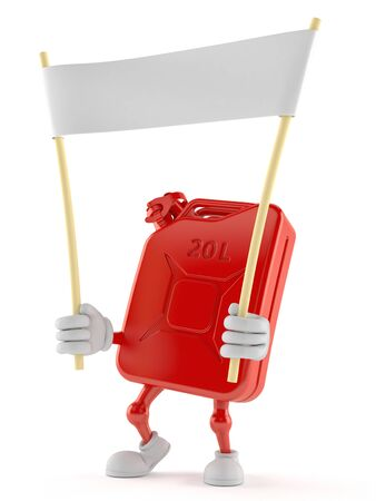 Petrol canister character holding blank banner isolated on white background
