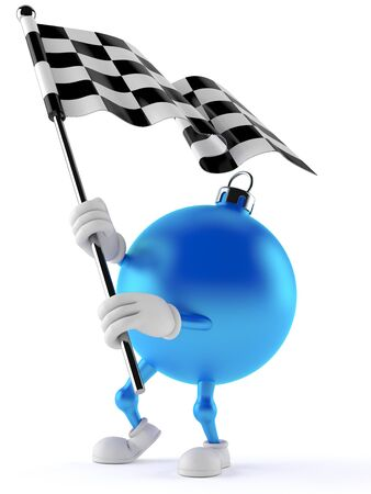 Christmas ornament character with racing flag isolated on white background