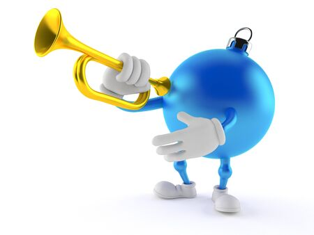 Christmas ornament character playing the trumpet isolated on white background Stock Photo