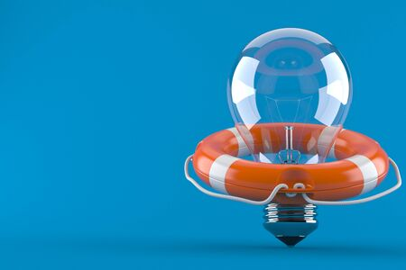 Light bulb with life buoy concept isolated on blue background Stock Photo