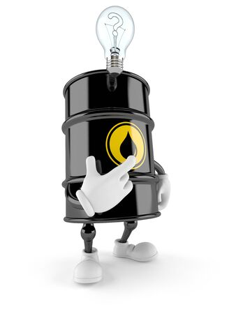 Oil barrel character thinking isolated on white background
