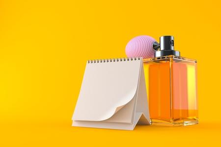 Perfume bottle with blank calendar isolated on orange background