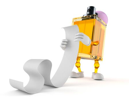 Perfume character reading long list isolated on white background