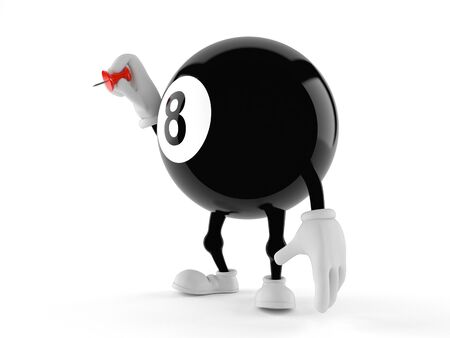 Eight ball character holding thumbtack isolated on white background