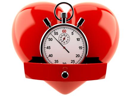 Hart met chronometer op witte achtergrond wordt geïsoleerd die