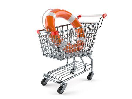 Shopping cart with life buoy isolated on white background