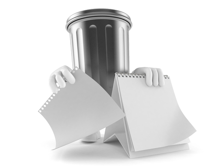Trash can character with blank calendar isolated on white background