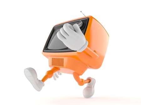 Retro TV character running on white background
