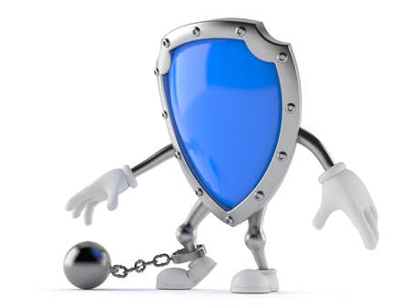Shield character with prisson ball isolated on white background Stock Photo