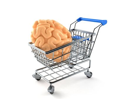 Shopping cart with brain isolated on white background