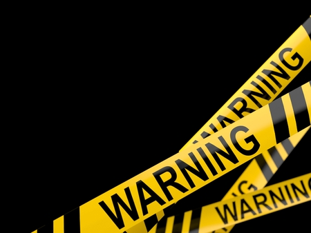 Cordon tape with warning text isolated on white background Standard-Bild