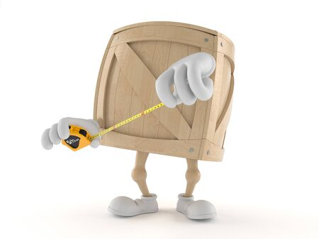 Crate character with measuring tape isolated on white background