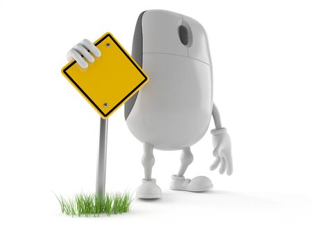 Computer mouse character with blank road sign isolated on white background
