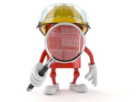 Fire extinguisher character looking through magnifying glass isolated on white background