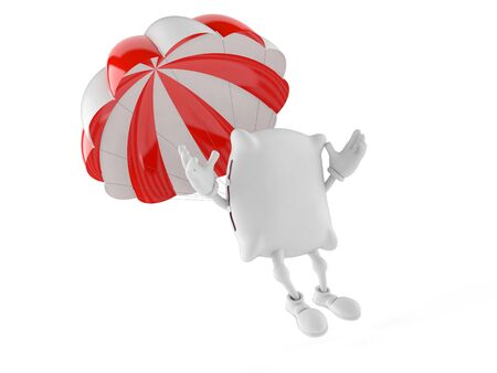 Pillow character with parachute isolated on white background