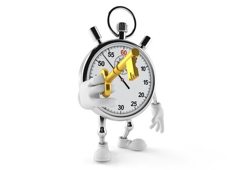 Stopwatch character holding door key isolated on white background Stock Photo