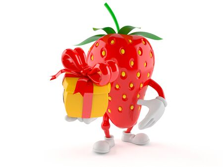 Strawberry character holding gift isolated on white background