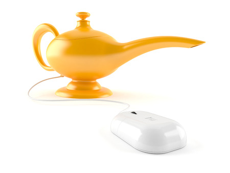 Aladdin lamp with computer mouse isolated on white background