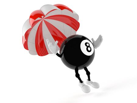 Eight ball character with parachute isolated on white background Banque d'images