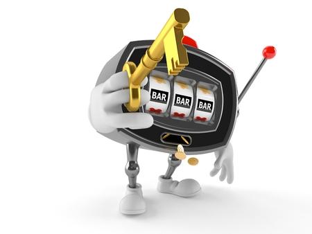 Slot machine character holding door key isolated on white background Stock Photo