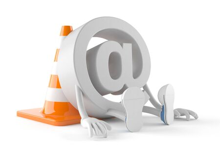 E-mail character with traffic cone isolated on white background Stock Photo