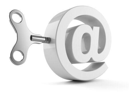 E-mail symbol with clockwork key isolated on white backgrund Stock Photo