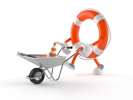 Life buoy character with wheelbarrow isolated on white background