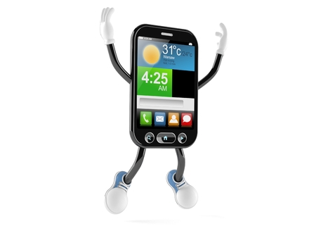 Smart phone character jumping on white background Stock Photo