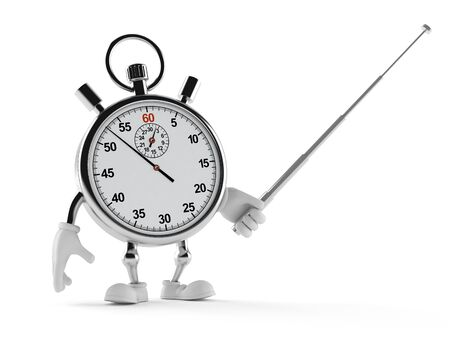 Stopwatch character holding pointer stick isolated on white background