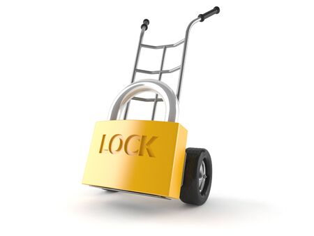 Hand truck with padlock isolated on white background Stock Photo