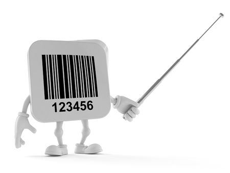 Barcode character holding pointer stick isolated on white background