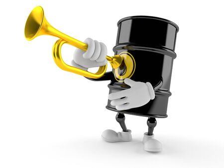 Oil barrel character playing the trumpet isolated on white background