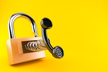 handset with padlock isolated on orange background