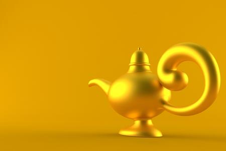 Aladdin lamp isolated on orange background