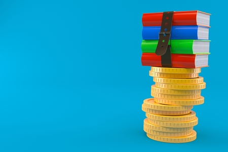 Books on stack of coins isolated on blue background