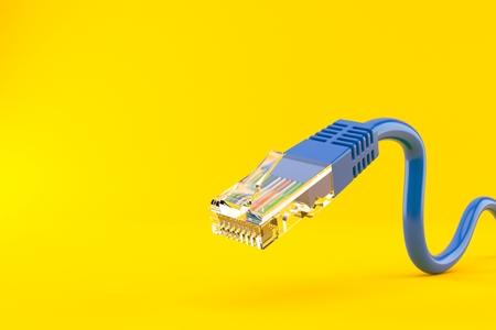 Network cable isolated on orange background