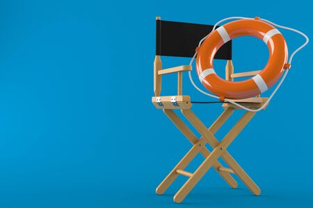 Movie director chair with life buoy isolated on blue background