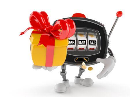 Slot machine character holding gift isolated on white background Stock Photo