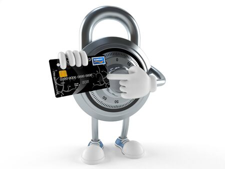 Combination lock character with credit card isolated on white background Stock Photo