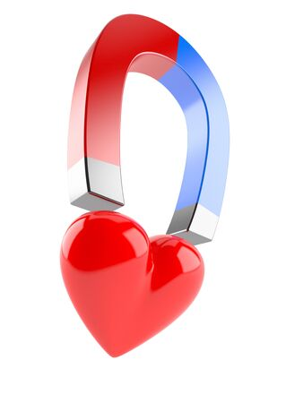 Heart with magnet isolated on white background