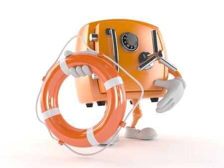 Safe character holding life buoy isolated on white background