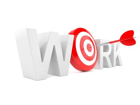 Work text with bulls eye isolated on white background